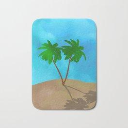 Watercolor Palm Tree Beach Scene Collage Bath Mat