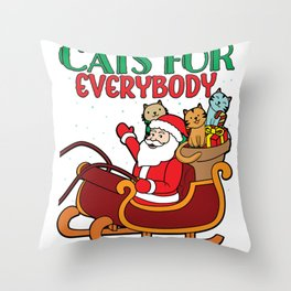 Funny Cats For Everybody Santa Claus Christmas Cute product Throw Pillow