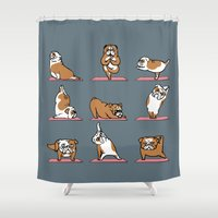 english bulldog Shower Curtains featuring English Bulldog Yoga by Huebucket