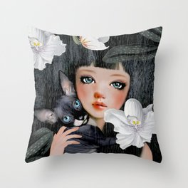 Sphynx Among Orchids Throw Pillow