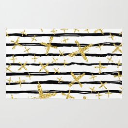 Pattern with brush stripes and gold glitter cross Rug