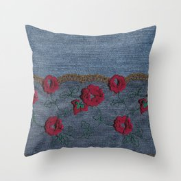 Denim Lace 11 Throw Pillow