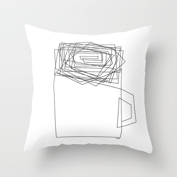 Coffee Illustration Black and White Drawing One Line Art Throw Pillow
