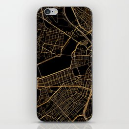 Black and gold Boston map iPhone Skin