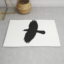 Jackdaw In Flight Silhouette Rug
