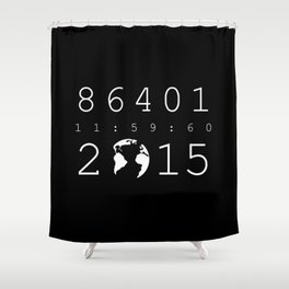 86401 Leap Second 2015 (white version) Shower Curtain