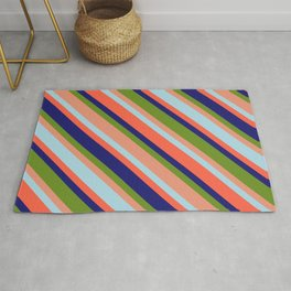 Vibrant Green, Dark Salmon, Light Blue, Red, and Midnight Blue Colored Lined Pattern Rug