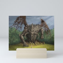 Fantastic Fantasy Earth Dragon Surfacing From Ground Scaring Little Girl Ultra HD Mini Art Print
