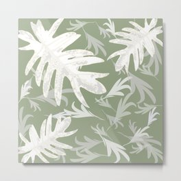 Trio palm leaves White olive green autumn fall tropical pattern Xmas , Christms society6 Metal Print