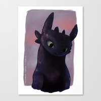 toothless Canvas Prints featuring Toothless by tsunami-sand