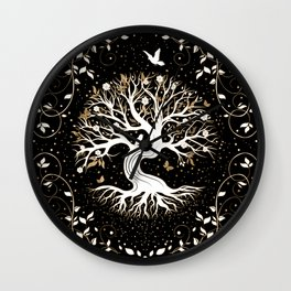 Tree of Life - Yggdrasil - black white and gold Wall Clock