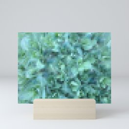 Cool Blue Green Abstract Pixelate | Nadia Bonello Mini Art Print