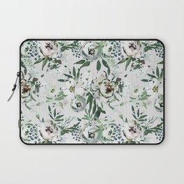 Green white blush pink watercolor geometrical floral Laptop Sleeve
