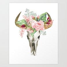 Bohemian bull skull with flowers Art Print