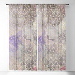 Art Deco Mermaid Scales - Watercolor Koi Fish Sheer Curtain