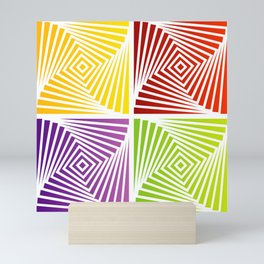 Colorful Squares twirling from the Center. Optical Illusion of PerspectiveColorful Squares twirling Mini Art Print