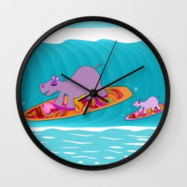 Just Like Momma - Hippos Surfing Wall Clock