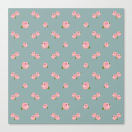 Pink Roses Repeat Pattern on Teal Canvas Print