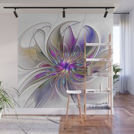 Energetic, Abstract And Colorful Fractal Art Flower Wall Mural