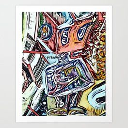 Straight Jacket Robot_PYRAW Art Print