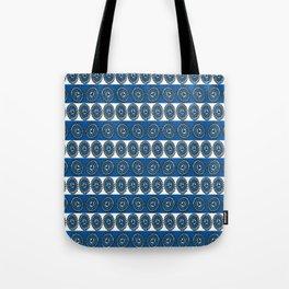 Blue Hearts Striped Tote Bag