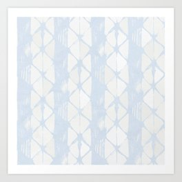 Simply Braided Chevron Sky Blue on Lunar Gray Art Print
