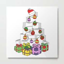 Christmas Toilet Paper Tree Metal Print