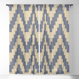 Twine in Blue and Gold Sheer Curtain