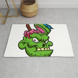 Zombie Head Illustration Rug