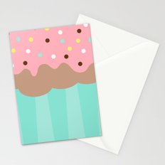 Cupcake with Pink icing and Sprinkles Stationery Cards