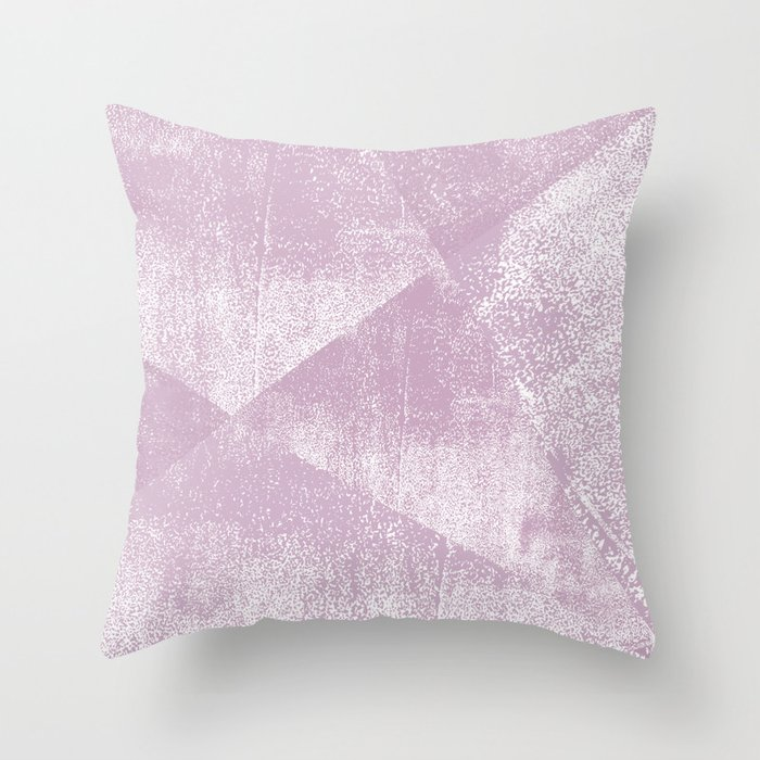 Mauve and White Geometric Ink Texture Throw Pillow