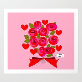 I Love You Rose Bouquet with Hearts Art Print