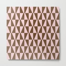 Mid Century Modern Geometric 315 Brown and Pink Metal Print