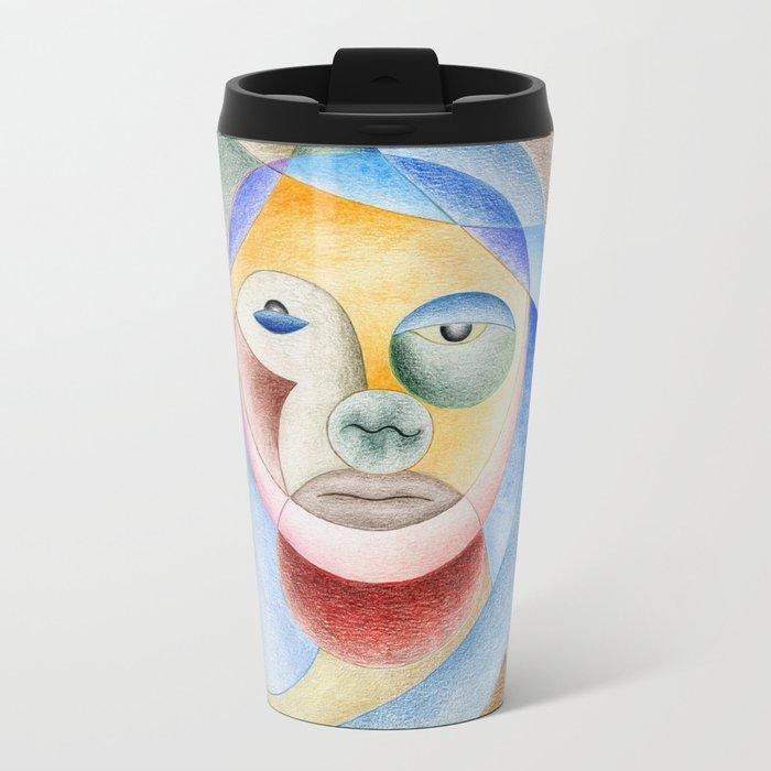 Face with circles Metal Travel Mug
