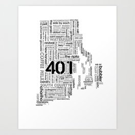 Rhode Island Word Map Art Print