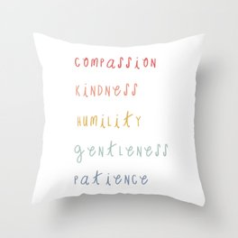 Colossians 3:12 Put on Compassion Kindness Bible Verse Art For Kids Boho Rainbow  Throw Pillow