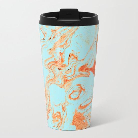 Flamingo + Sea Marble #society6 #decor #buyart Metal Travel Mug