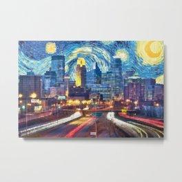 Minneapolis Starry Night Metal Print