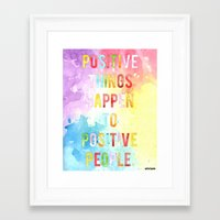 positive Framed Art Prints featuring positive by elvia montemayor