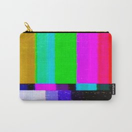 A distorted tv transmission or VHS tape, a badly eaten noisy signal of SMPTE color bars (a television screen test pattern). Vintage photo. Retro background. Carry-All Pouch