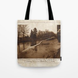 Elasmosaurus Dinosaur Attacking Bridge Tote Bag