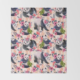 Watercolor pattern with pandas and flowers. Throw Blanket