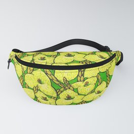 Puya Flowers, Floral Pattern, Green Yellow Fanny Pack