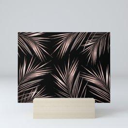 Rosegold Palm Tree Leaves on Midnight Black Mini Art Print