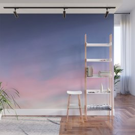 Blue evening sky with pink clouds. Photography Wall Mural