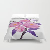study Duvet Covers featuring Flower study by Bexelbee