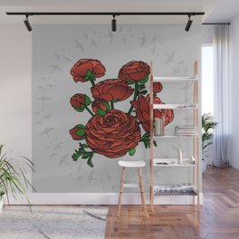 Doves and Red Roses Wall Mural