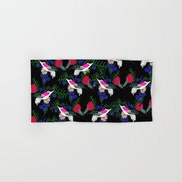 Sgraffito Birds - Bright Fuchsia Botanical Birds and Flowers Hand & Bath Towel
