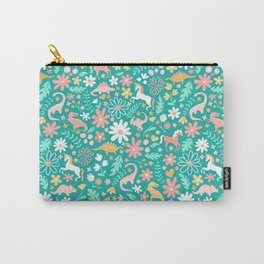 Dinosaurs + Unicorns on Teal Carry-All Pouch