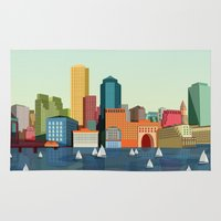 boston Area & Throw Rugs featuring Boston  by Felita Go